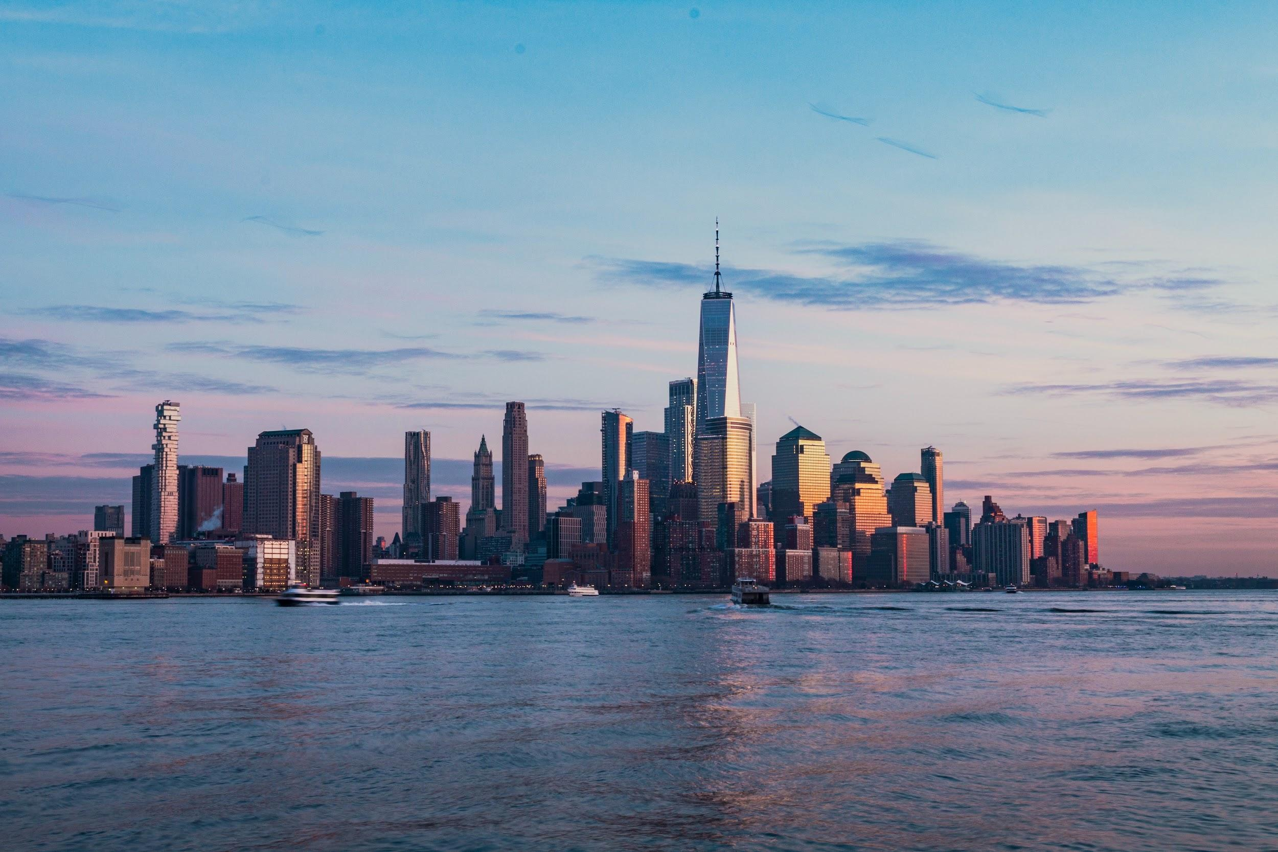 Panorama of the New York City during the sunset