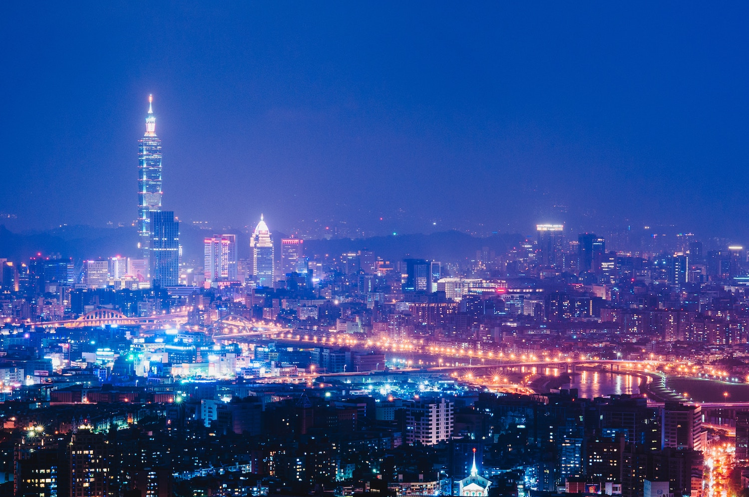 Panorama of Taipei during the night