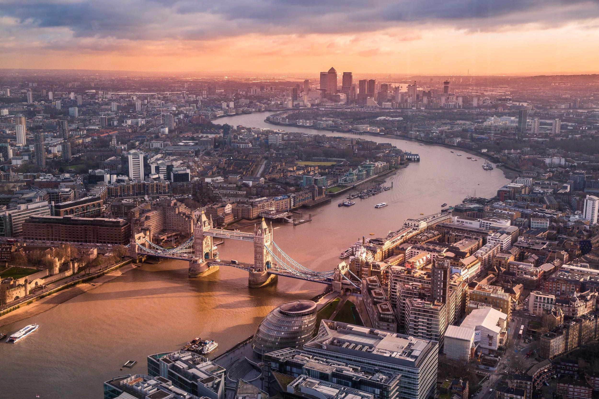 Panorama of London after rain