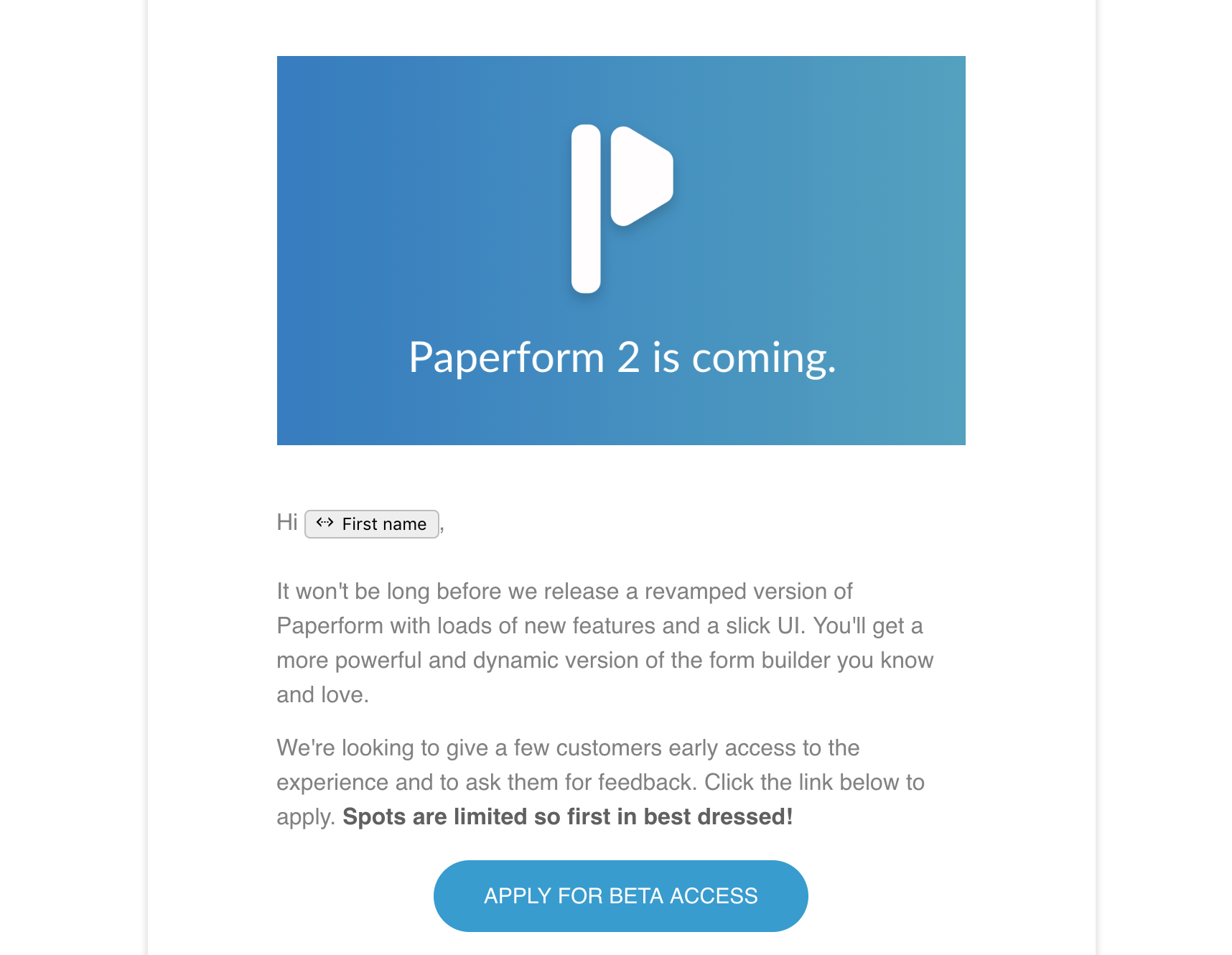 Beta of Paperform V2